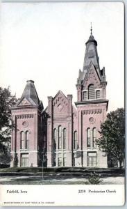 Fairfield, Iowa Postcard PRESBYTERIAN CHURCH Street View Curteich c1900s Unused