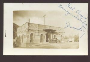 RPPC PAMAZANNCHALA S.L.O MEXICO HOTEL PROGRESO REAL PHOTO POSTCARD OLD CARS