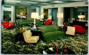 Tucson, Arizona Postcard THE WESTERNER HOTEL Lobby Mid-Century Furniture / 1955