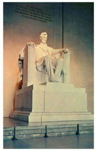 Lincoln Statue at Lincoln Memorial Washington DC Vintage Postcard