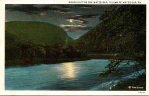 Pennsylvania Delaware Water Gap Moonlight On The Water Gap Curteich