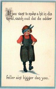 1910s Greetings Postcard Dutch Boy Fighting Barton & Spooner UNUSED
