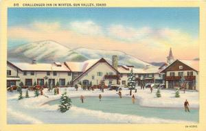 Sun Valley Idaho~Challenger Inn~Winter~Snow~Ice Skating~1940s Postcard