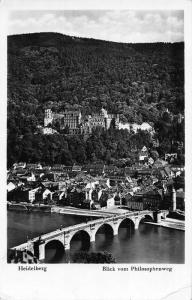 Heidelberg Blick vom Philosophenweg Bridge Castle River Panorama Postcard