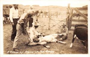 B21/ Rodeo Cowboy Horses Real Photo RPPC Postcard c1930s Roundup Scene Range 13