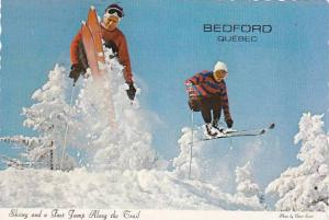 Skiing and a Fast Jump Along the Trail, Bedford, Quebec, Canada, PU-1988