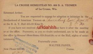 pre-1907 HOMESTEAD NO 806 B.A YEOMEN of La Crosse WI Esteemed Archer: initiation