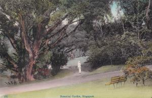 Man With White Suit Botanical Gardens Singapore Old Postcard