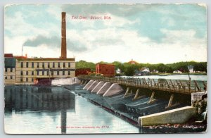 Beloit Wisconsin~Dam & Water Works~Smokestack~Wood Walkway~c1910 Postcard