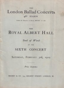 Carrie Tubb Philip Ritte Royal Albert Hall 1912 Classical Theatre Programme