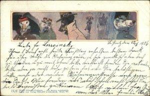 Dressed Dogs & Bird Fantasy A. Pock - Philipp & Kramer c1900 Postcard