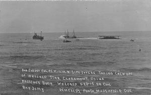 Coos Bay OR Wreck of The Steamer Claremont Using Breeches Buoy RPPC Postcard
