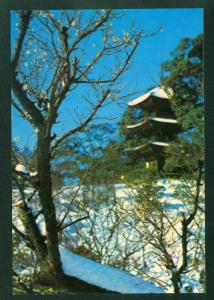 Plum Blossoms Three Storied Pagoda Covered Snow Tokyo Japanese Garden Postcard