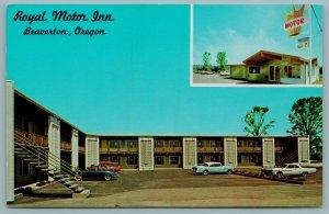 Beaverton Oregon~Royal Motor Inn Court~Motel Office Crown Sign~1950s Buick~Cars