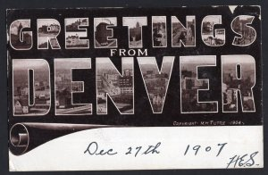 Colorado DENVER Large Letter Greetings from Copyright M.H. Tuttle - pm1907 - DB