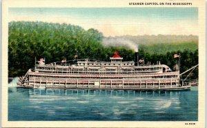 Postcard Steamer Boat Mississippi River MS Vintage VTG Linen B4 US Flag USA