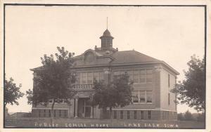 Lake Park Iowa~Public School House~Low Barns & Sheds~c1912 Real Photo Postcard