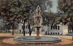 court house  park and fountain janesville wisconsin antique postcard L3844