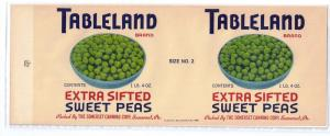Tableland Sweet Peas Vintage Can Label Somerset PA 1 lb 4 oz