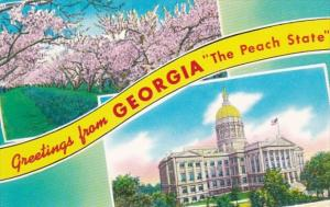 Greetings From Georgia Showing State Capitol and Peach Blossoms