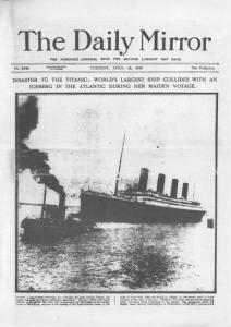 Titanic Sunk 1912 Daily Mirror Reprint Disaster Newspaper