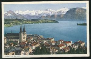 Switzerland Lucerne Postcard Vintage Luzern und Alpen Alps