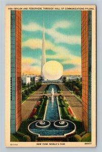 1939 New York World's Fair - The Trylon and Perisphere - Linen Postcard