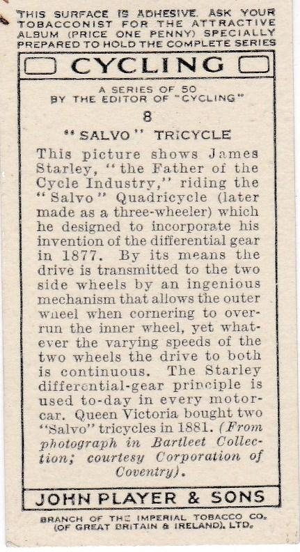 "Cigarette Cards Players CYCLING No 8 ""Salvo"" Tricycle"