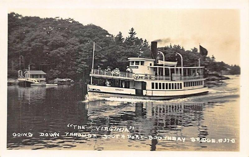 Southport ME Steamship The Virginia Boothbay Bridge Real Photo Postcard