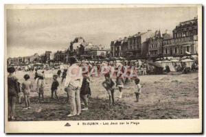 Postcard Old St Aubin sur Mer Beach Games On Children