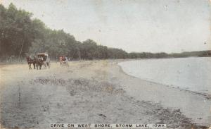 Storm Lake Iowa~Horse & Buggy Along West Shore~Near State Rt 110? Postcard 1911