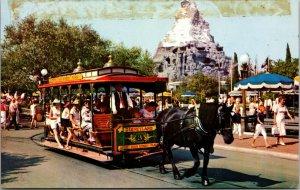 DISNEYLAND Horse-Drawn Streetcar Main Street Plaza Matterhorn Postcard ca 1960s