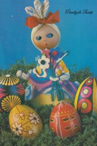 Polish Corn Dolly Doll Embroidery Dress Costume Poland Happy Easter Postcard