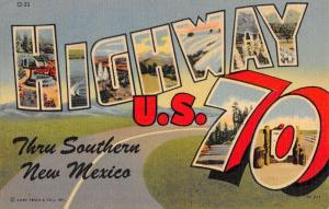 New Mexico Highway 70 Large Letter Linen Antique Postcard K102244