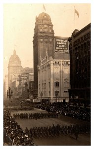 1917 San Francisco Parade Soldiers Marching Market Street Real Photo Postcard