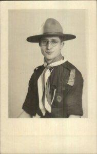 Boy Scout of Cub Scout Uniform Glasses Montreal Real Photo Postcard