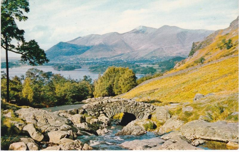 Post Card Cumbria / Cumberland Lake District Ashness Bridge & Skiddaw