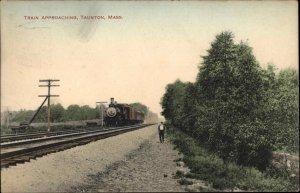 Taunton MA RR Train Approaching 1911 Used Postcard