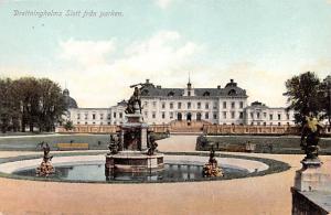 Sweden Old Vintage Antique Post Card Drottningholms Slott fran Parken Unused