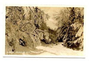 NY - Lake Placid. Woods in Winter Scene       *RPPC
