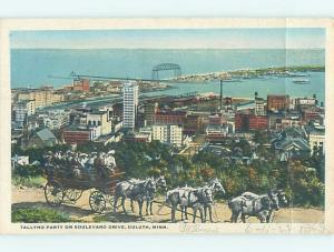 W-Border HORSE-DRAWN WAGON FOR TALLYHO PARTY ON BOULEVARD DRIVE Duluth MN F1191