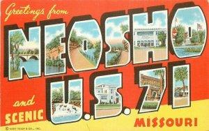 Neosho Missouri large letters multi View 1940s Postcard Adams Teich 21-6003