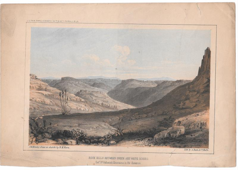 USPRR Surve 38th 39th Parallel Rock Hills Green and White Rivers 1855 Litho
