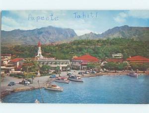 Pre-1980 HARBOR SCENE Papeete Tahiti F5660