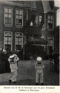 CPA Stadhuis te HARLINGEN Bezoek van Koningin NETHERLANDS (604621)