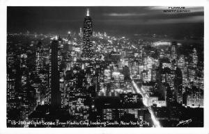 NEW YORK CITY, NIGHT SCENE FROM RADIO CITY SOUTH RPPC REAL PHOTO POSTCARD