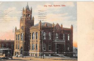 Guthrie Oklahoma City Hall Street View Antique Postcard K39012