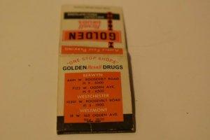 Golden Rexall Drugs Discount Prescriptions Advertising 20 Strike Matchbook Cover