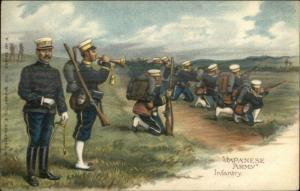 Japanese Army Infantry Military Art Infantry CW Faulkner c1910 Postcard