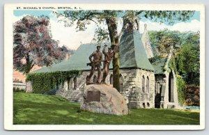 Bristol Rhode Island~St Michael's Chapel~Soldiers Memorial in Front~1920s
